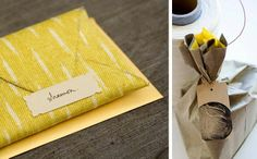 Fabric envelopes - great idea! Could be nice wedding favour packaging.