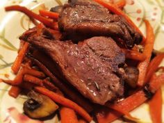 Grass Fed Lamb Chops Over Carrots and Mushrooms: 2/24/14