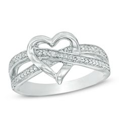 Diamond Accent Heart Split Shank Ring in Sterling Silver
