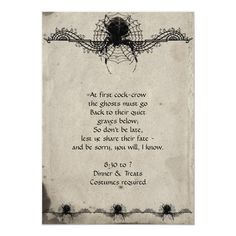 Shop Elegant Gothic Spider Halloween Party Invitation created by NoteableExpressions. Personalize it with photos & text or purchase as is! Halloween School Treats, Halloween Party Supplies, Halloween Party Invitations, Halloween Cards, Holidays Halloween, Easy Halloween, Halloween Treats, Halloween Decorations, Halloween Stuff