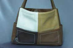 Color block purse brown shoulder bag mint vintage by PurseFancy