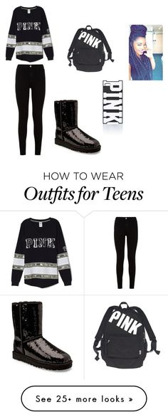 """""""teens only"""" by lordgirlky on Polyvore featuring UGG Australia, 7 For All Mankind, Victoria's Secret, Victoria's Secret PINK, women's clothing, women, female, woman, misses and juniors"""