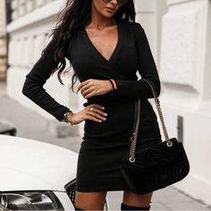 Buy Cheap Sexy Dress Women Party Night Club Wear Long Sleeve Dress Low Cut Solid Color Long Sleeve Women Bodycon Dress Online - Hplify
