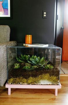 DIY: terrarium side table
