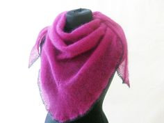Triangle mohair scarf hand knitted shawl fuchsia by Renavere, $75.00