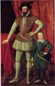 Northern Renaissance: ruff, doublet with padded sleeves under a sleeveless jerkin, hose, son wears gallygaskins