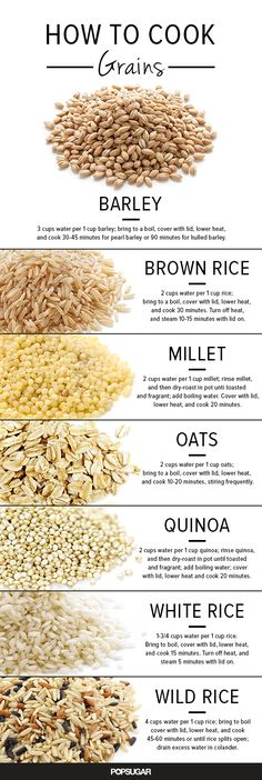 How to Cook Grains by Anna Monette Roberts, yumsugar: If you tend to buy the likes of rice and quinoa out of the bulk bin, then chances are your grains don't come with cooking instructions. Here is a handy list. #Infographic #Cooking #Grains