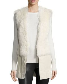 Gabby Reversible Shearling Fur Vest, Snow White, Women's, Size: SMALL - Ramy Brook