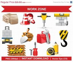 FLASH SALE Work Zone  Digital Clipart by clipartresources on Etsy