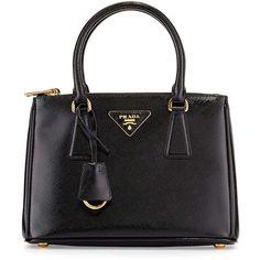 Prada Saffiano Vernice Mini Double-Zip Tote Bag ($1,850) ❤ liked on Polyvore featuring bags, handbags, tote bags, black, bolsas, totes, expandable tote, tote purses, detachable key ring and zipper tote