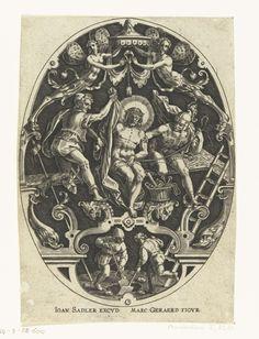 Johann Sadeler (I)   Christus wordt ontkleed door soldaten, Johann Sadeler (I), 1560 - 1600   Christus wordt, zittend op het kruis, ontkleed door soldaten. Uit serie van 14 ovalen met grotesken waarin scènes uit de passie zijn afgebeeld. Gearceerde achtergrond.