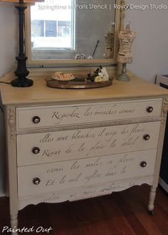 From curbside to French beauty - Shabby Chic Furniture using French quotes and lettering stencils - Royal Design Studio designer stencils for furniture makeover DIY projects