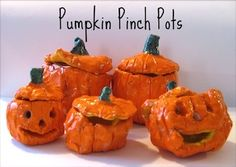 Pumpkin pinch pots . Maybe coil pot instead