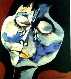 by Oswaldo Guayasamin Quito, Ecuador) Pablo Picasso, Picasso Guernica, Black And White Painting, Classic Paintings, Abstract Faces, Maquillage Halloween, Portraits, Sculpture, Face Art