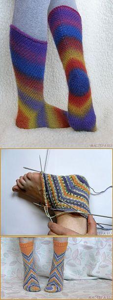 Необычные носки. Вязание на спицах..