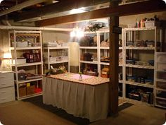 if i were to be realistic about how my craft corner in the basement could look: