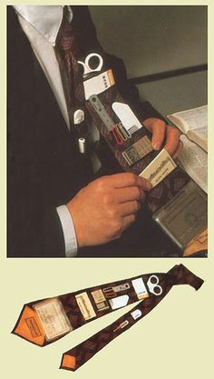 Tie with pockets for office supplies. WANT to make this for a lds missionary