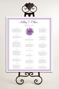 Lavender Purple Daisy Seating Chart for Table Assignments for your Wedding Reception - Printable PDF File. $18.00, via Etsy.