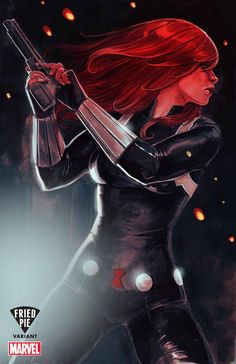 fuckyeahblackwidow: It's been a really long time since my last Black Widow cover. I am very happy have finally been able to do an illustration of her using traditional techniques. I hope it pleases you :) Black Widow variant by Stéphanie Hans. Ms Marvel, Black Widow Marvel, Marvel Art, Marvel Dc Comics, Marvel Heroes, Marvel Avengers, Avengers Shield, Marvel Girls, Black Widow Scarlett