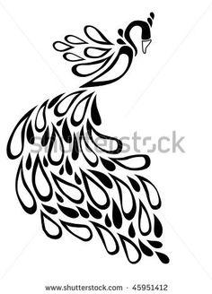 stock vector : abstract black peacock