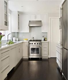 Galley Kitchen by Frances Herrera - To re-create the look, select one light, neutral color and carry it throughout your space. It's a trick that can seem to increase your square footage instantly. ==>http://www.homeportfolio.com/SlideShow/galley-kitchens/frances-herrera#