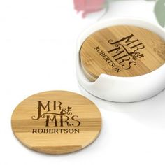 Dotty Mr and Mrs Engraved Coaster Set