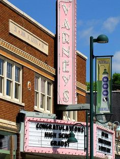 Varney's theater -    		Vintage movie theater in the Aggieville section of Manhattan, Kansas