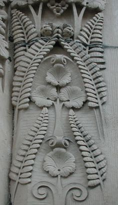 Carved stone ferns on a Victorian building in Elgin, Scotland