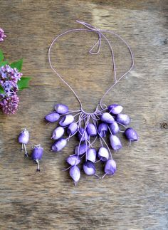 necklace made of natural silk cocoon and earrings. от batikelena