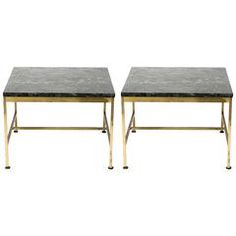 Pair of 1970s Paul McCobb Style Brass and Marble Side Tables