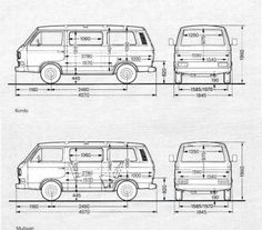 Abmessungen vom T3 Volkswagen Bus, Volkswagen Interior, Vw T3 Camper, Vw Bus T3, Pop Up Camper Trailer, Bus Interior, Vw T1, Camper Van, Transporter T3