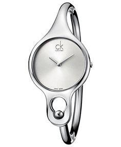 ck Calvin Klein Watch, Women's Swiss Air Stainless Steel Bangle Bracelet 30mm K1N22120