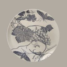 Serving Dish or Wall Plate - Vintage Botanical  Gorgeous vintage illustration of grapes on a grape vine and two moths decorate this lovely sepia toned serving dish or wall plate.   http://vintagehomedecor.blogspot.ca/
