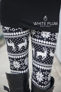 Just ordered these Flower Reindeer Leggings from White Plum Boutique!