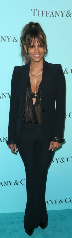Halle Berry in Jewelry – Tiffany and Co.  Jacket and pants – Alexander McQueen  Shirt – Balmain  Shoes – Tamara Mellon