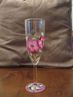 Pink - hand-painted wine glass  (mine)