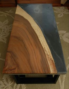 Awesome stone + wood coffee table ~ would be awesome for a kitchen island Live Edge Furniture, Resin Furniture, Concrete Furniture, Concrete Wood, Wood Slab, Furniture Projects, Custom Furniture, Furniture Design, Wood Projects