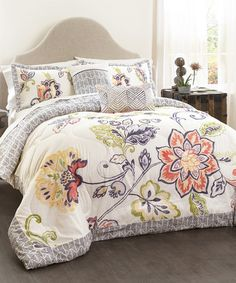 Loving this Coral & Navy Quilted Five-Piece Comforter Set on #zulily! #zulilyfinds