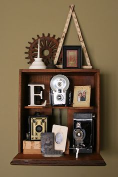 Drawer hung as a shelf...cute!  Maybe for the guest room