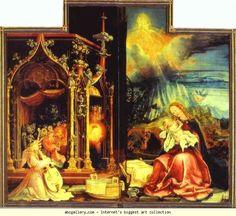 Matthias Grünewald. Concert of Angels (left) and Nativity (right).
