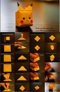 oh, pikachu ~ - DIY and crafts - Origami Diy Origami, Cute Origami, Useful Origami, Paper Crafts Origami, Origami Tutorial, Diy Paper, Origami Instructions, Diy Crafts Hacks, Diy Arts And Crafts