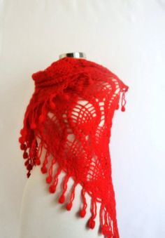 Free shipping RED SHAWL  Triangle Winter scarf by modelknitting, $62.00