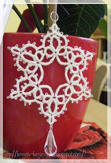 Tatted and beaded snowflake ornament