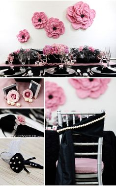 Chanel themed wedding in hot and ballet pink, pearl, black. Mais oui!