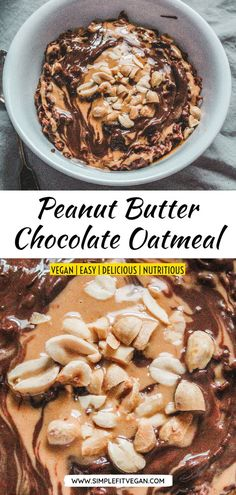 This Peanut Butter Chocolate Oatmeal is dessert disguised as breakfast! It's made with rich cocoa, creamy peanut butter and sprinkled with peanuts for a little crunch! Vegan Recipes Plant Based, Best Vegan Recipes, Vegan Dinner Recipes, Snack Recipes, Veggie Recipes, Low Carb Vegan Breakfast, Raw Breakfast, Vegetarian Desserts, Vegan Snacks