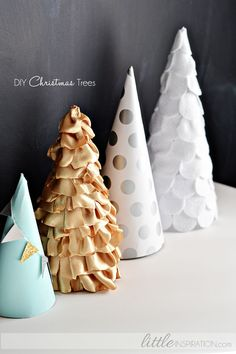Silver dot cone tree. Easy Christmas decorating idea with wrapping paper.