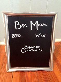 Silver Framed chalk menu