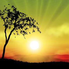 Brilliant Sunset Landscape Vector Background - http://www.welovesolo.com/brilliant-sunset-landscape-vector-background/