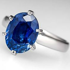 4 Carat Sapphire Solitaire Engagement Ring 6-Prong Platinum - EraGem