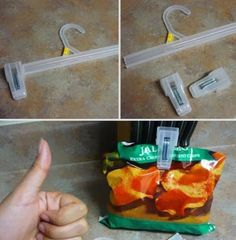 MacGyver a hanger into a chip clip. | 25 Unexpectedly Genius Household Hacks You'll Wish You'd Thought Of First